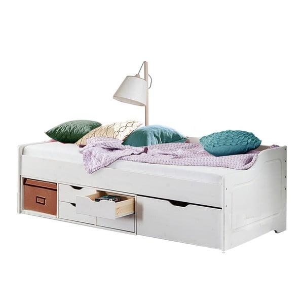 Biela jednolôžková posteľ z masívneho borovicového dreva Støraa Marco