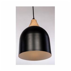 Čierne závesné svietidlo z dubového dreva a ocele Nørdifra Bettty