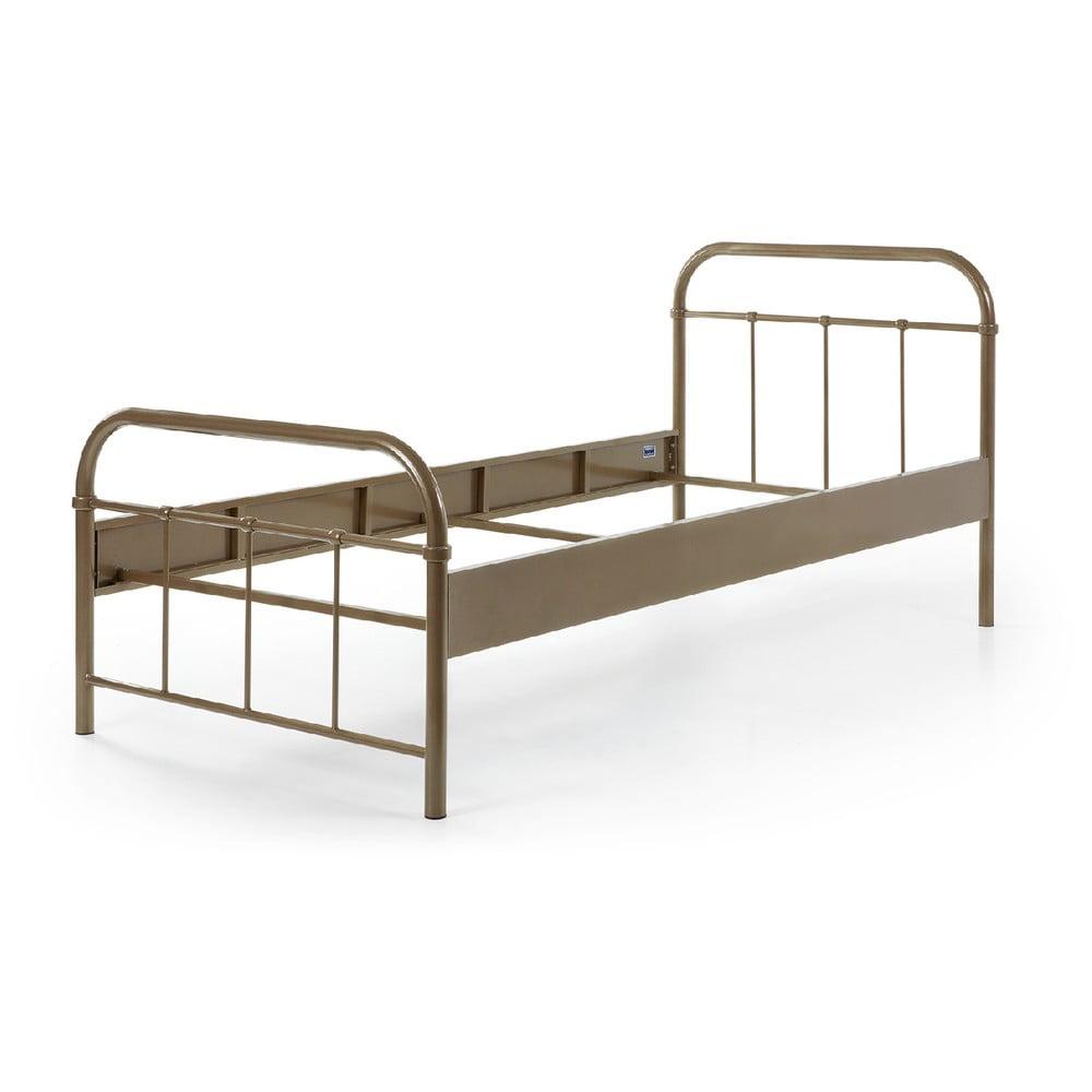 Hnedá kovová detská posteľ Vipack Boston, 90 × 200 cm