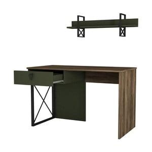 Tmavozelený pracovný stôl s detailmi v dekore orechového dreva Ratto Latera