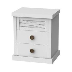 Biely nočný stolík s 2 zásuvkami Trébol Mobiliario Aspas