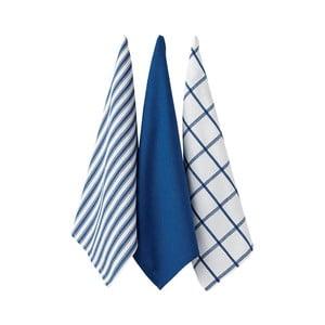 Sada 3 modrých kuchynských utierok Ladelle Butcher Stripe