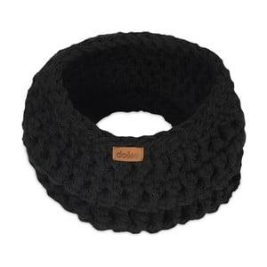 Čierny ručne háčkovaný kruhový šál DOKE Sirius