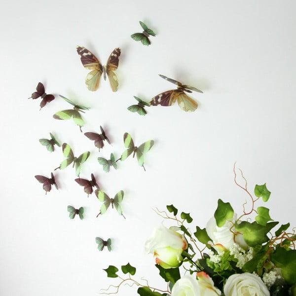 Trojrozmerné samolepky - motýlikovia, farba zelená