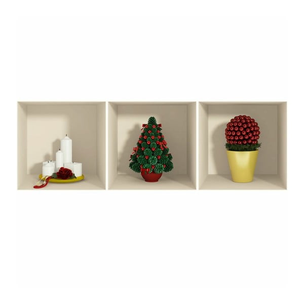 Samolepka Fanastick 3D Effect Candles and Christmas Tree