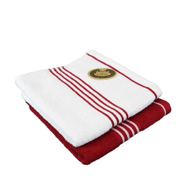 Sada 2 osušiek Rio Red/White, 50x100 cm