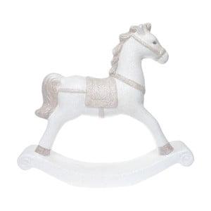 Biely keramický dekoratívny hojdací koník Ewax, výška 27 cm