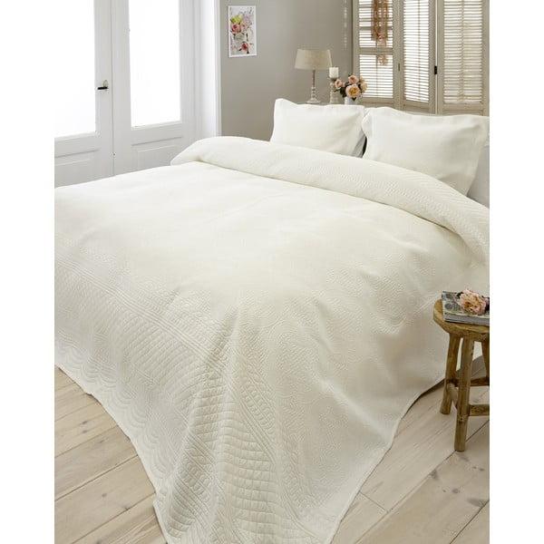 Krémový pléd cez posteľ s dvomi obliečkami na vankúš Dreamhouse Charlene, 260 x 250 cm