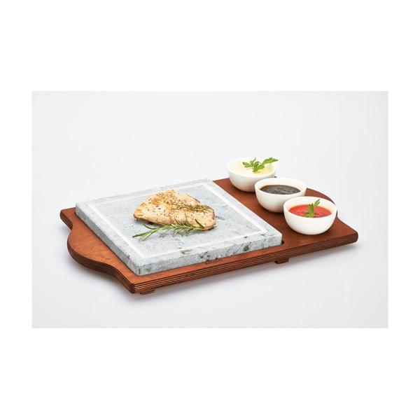 Servírovací podnos s kamennou doskou a miskami Stone Plate, 48x30 cm