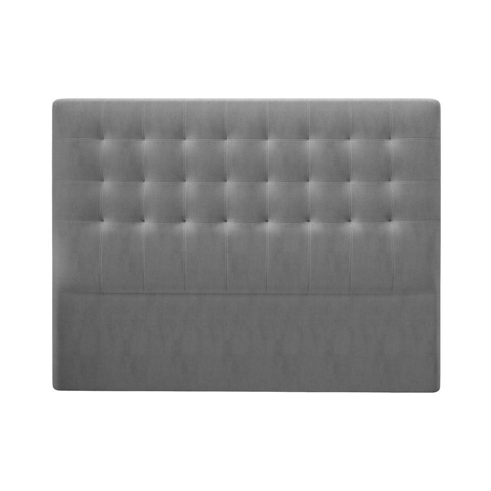 Sivé čelo postele so zamatovým poťahom Windsor & Co Sofas Athena, 140 × 120 cm