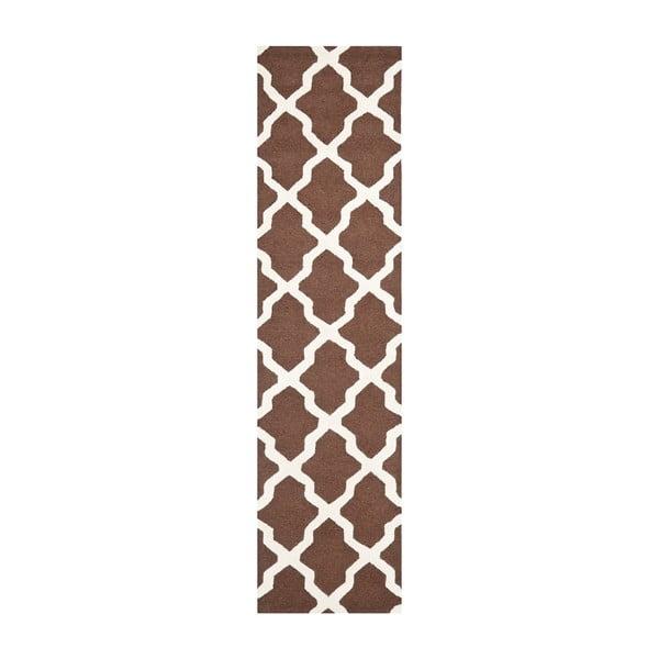 Vlnený koberec Safavieh Ava, 76x182 cm, hnedý