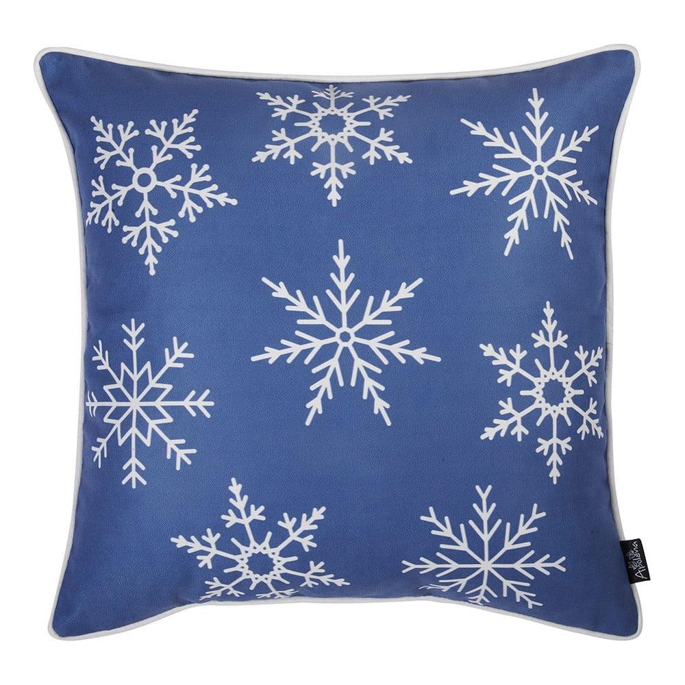 Modrá obliečka na vankúš s vianočným motívom Apolena Honey Snowflakes, 45 × 45 cm
