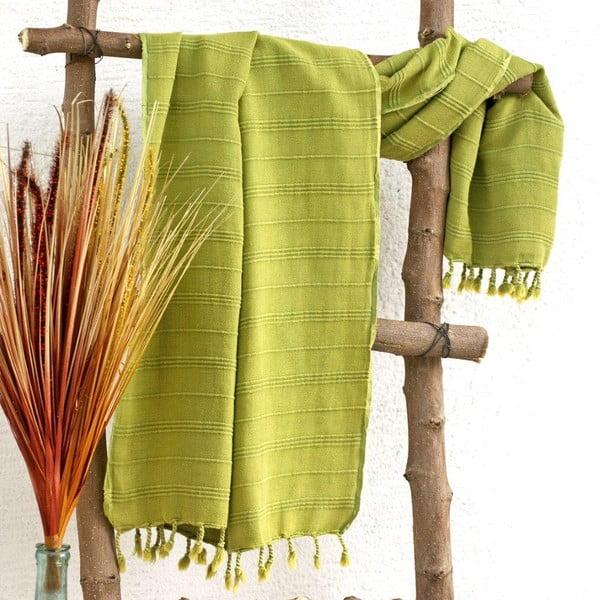 Hamam osuška Peshtemal Green, 90x165 cm