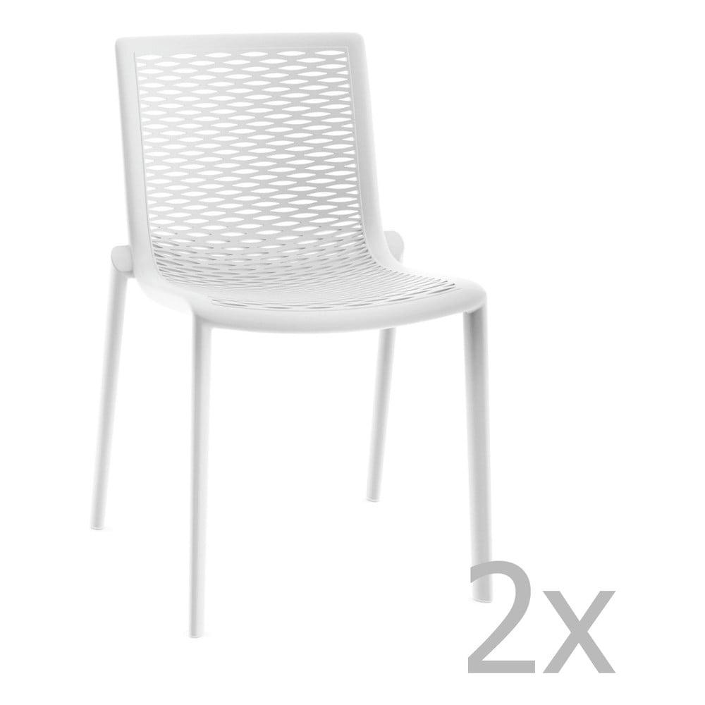 Sada 2 bielych záhradných jedálenských stoličiek Resol Net-Kat