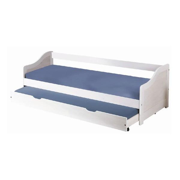 Biela drevená posteľ s úložným priestorom 13Casa Leon, 90 x 200 cm