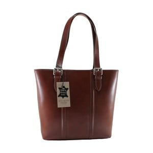 Hnedá kožená kabelka Chicca Borse Fiona