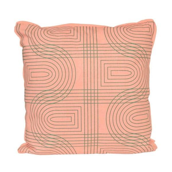 Vankúš Retro Grid Peach Pink, 45x45 cm