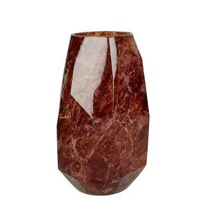 Červená sklenená váza s dekorom mramoru HF Living Alyssa