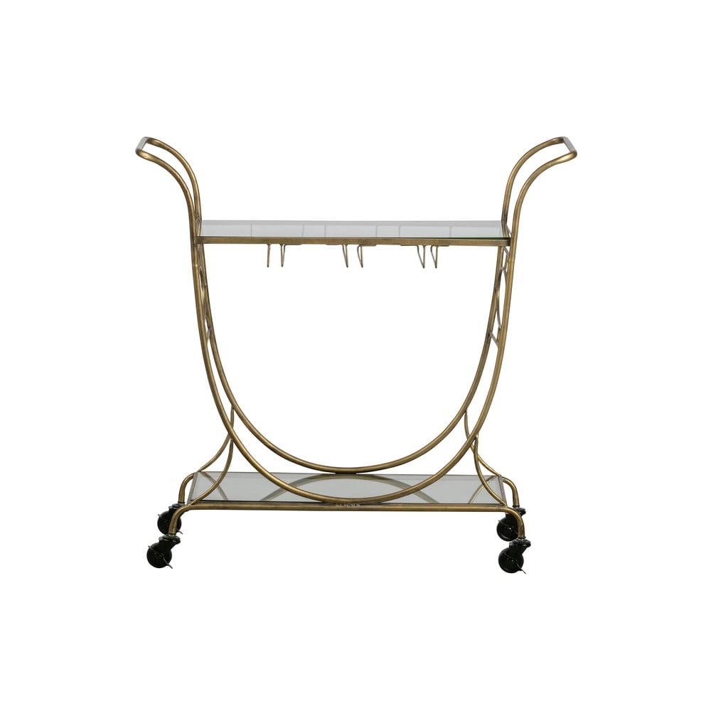 Sklenený servírovací vozík v zlatej farbe BePureHome