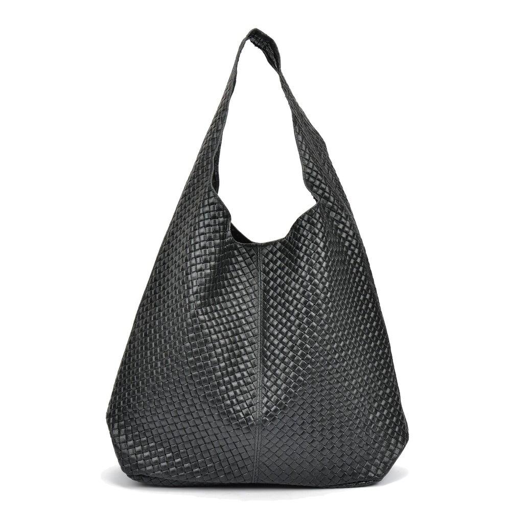 Čierna kožená kabelka Mangotti Bags Gabriella