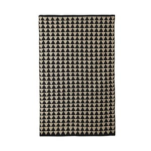 Černo-béžový bavlnený ručne tkaný koberec Pipsa Triangle, 100×120 cm
