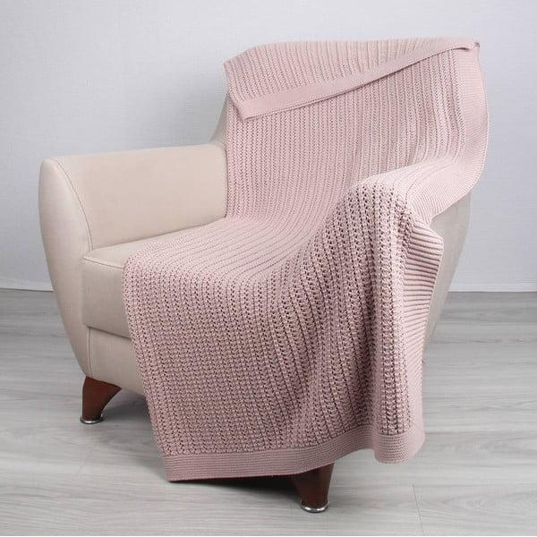Ružová bavlnená deka Homemania Carla, 170 x 130 cm