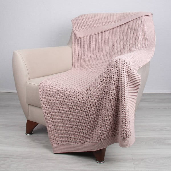Ružová bavlnená deka Carla, 170 x 130 cm