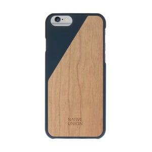 Tmavomodrý obal na mobilný telefón s dreveným detailom pre iPhone 6 a 6S Plus Native Union Clic Wooden Light
