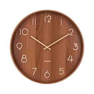 Hnedé nástenné hodiny z lipového dreva Karlsson Pure Large, ø 60 cm