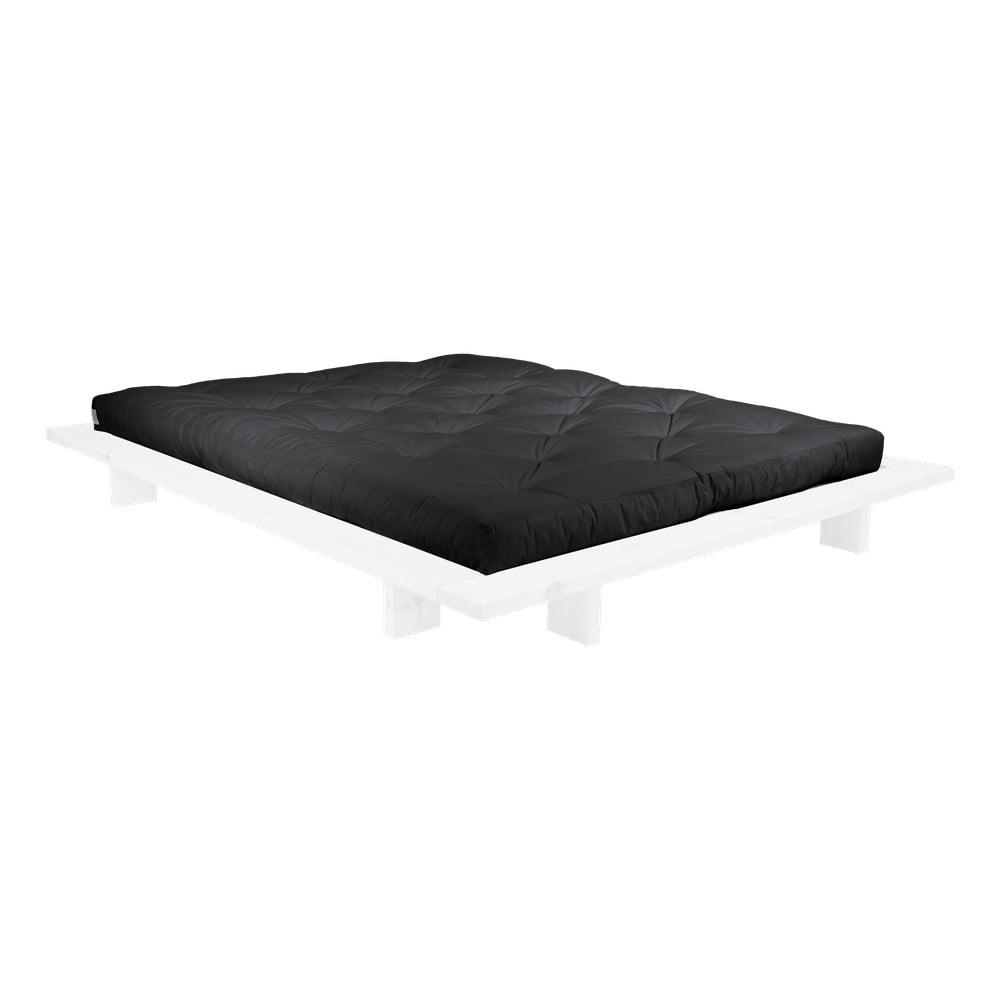 Dvojlôžková posteľ z borovicového dreva s matracom Karup Design Japan Double Latex White/Black, 160 × 200 cm
