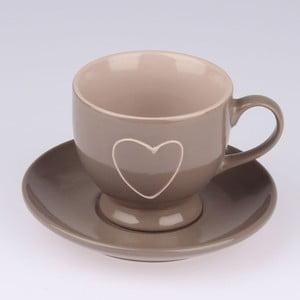 Ručne zdobený hnedý keramický hrnček s tanierikom Dakls Heart Dark, 0,2 l