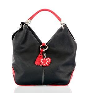 Čierna kožená kabelka s detailmi v červenej farbe Glorious Black Amy