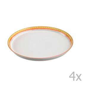 Sada 4 porcelánových tanierov na pizzu Oilily 31 cm, žltý okraj
