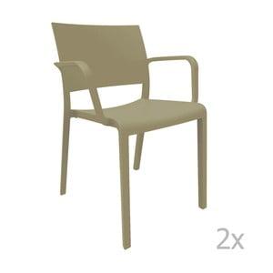 Sada 2 hnedých záhradných stoličiek sopierkami Resol Fiona