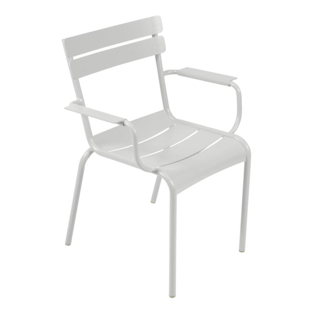 Svetlosivá záhradná stolička s opierkami Fermob Luxembourg