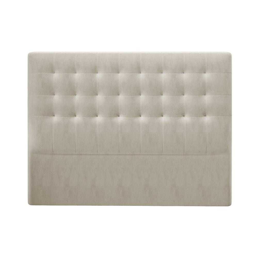 Béžové čelo postele so zamatovým poťahom Windsor & Co Sofas Athena, 140 × 120 cm