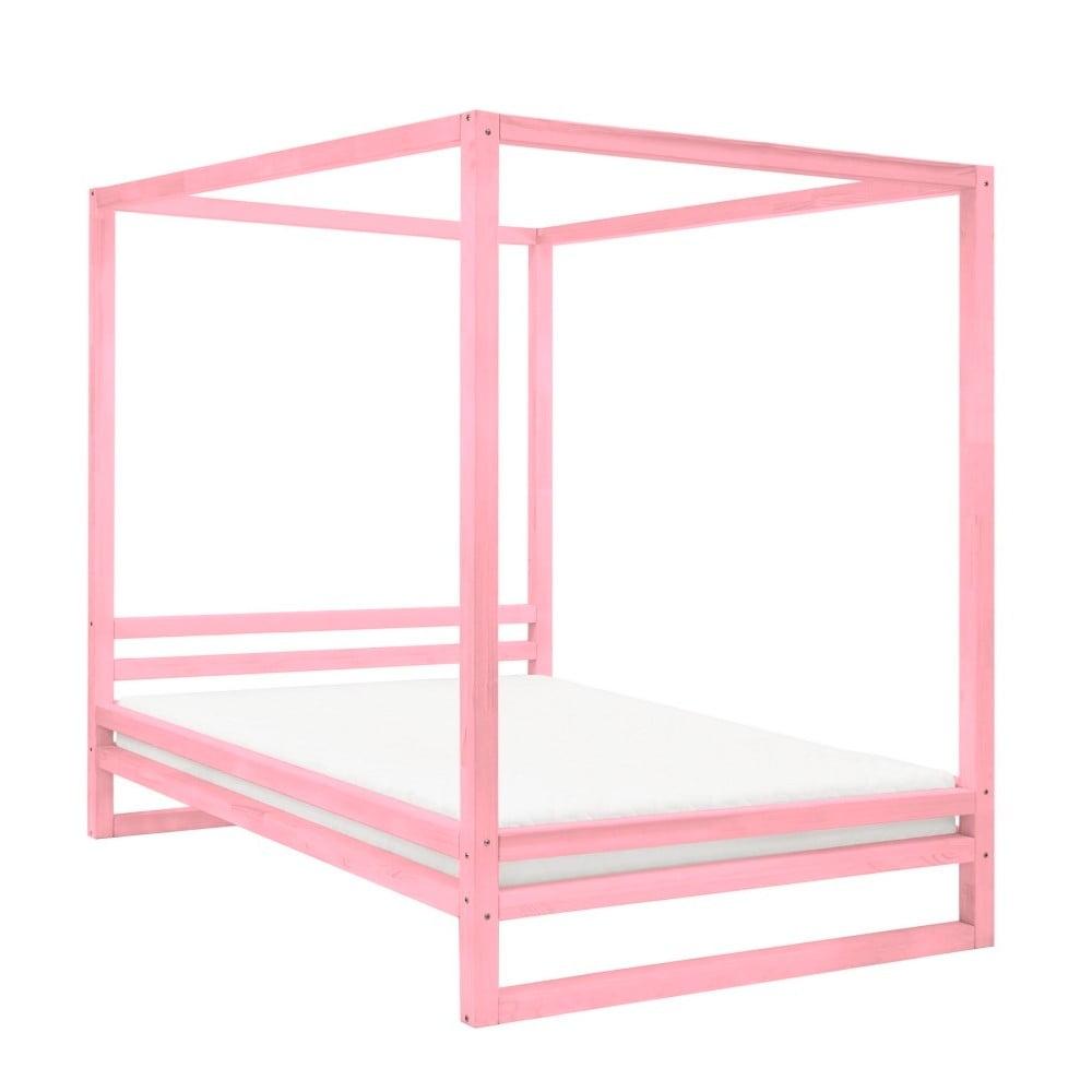 Ružová drevená dvojlôžková posteľ Benlemi Baldee, 200 × 190 cm