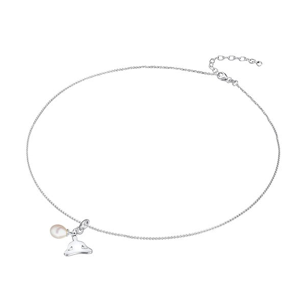 Strieborný náhrdelník s príveskom a perlou Chakra Pearls Lotus, 42 cm