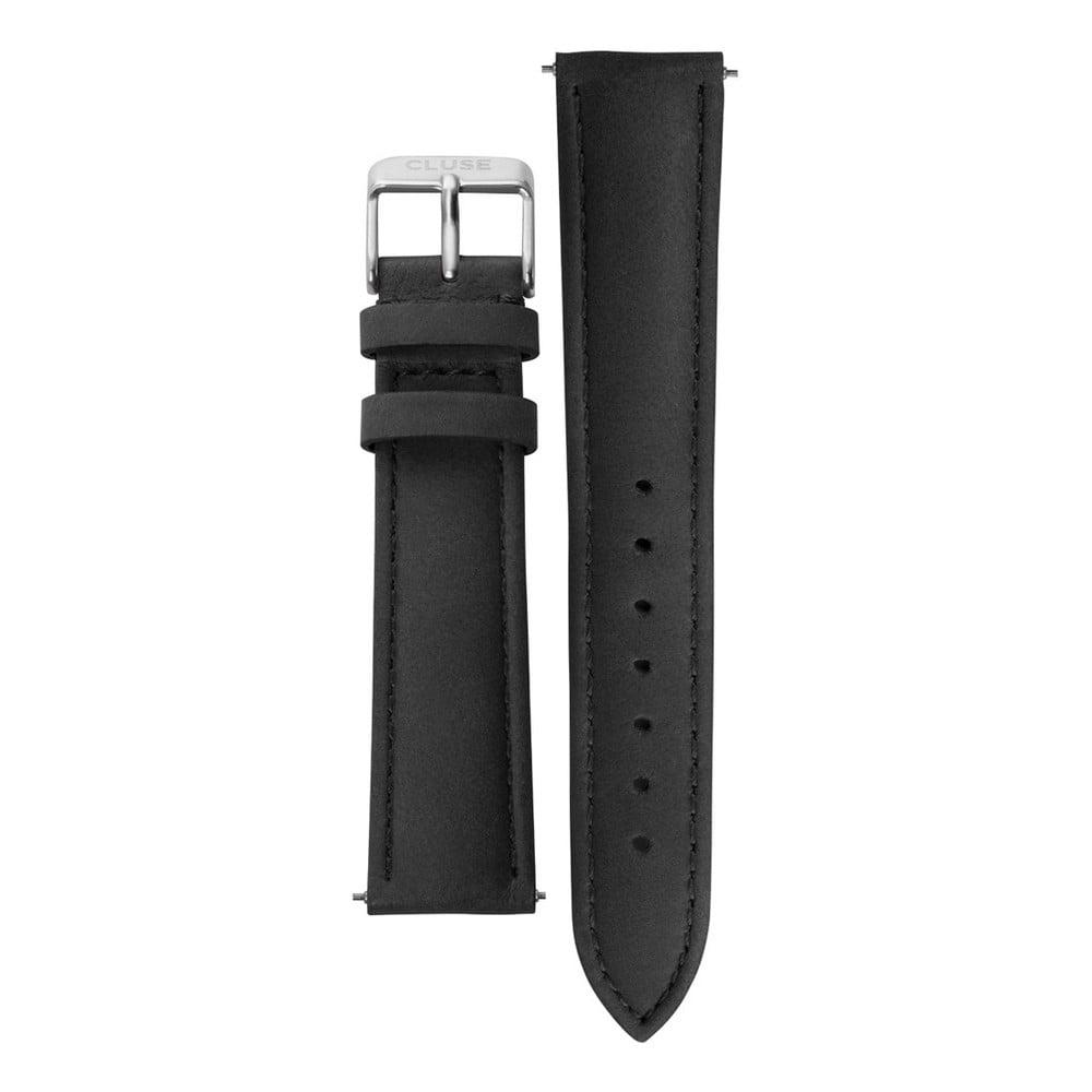 Čierny kožený remienok s detailmi v striebornej farbe k hodinkám Cluse La Bohème