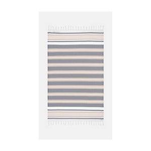 Béžovo-sivá osuška s prímesou bavlny Kate Louise Cotton Collection Line Beige Grey, 100 × 180 cm