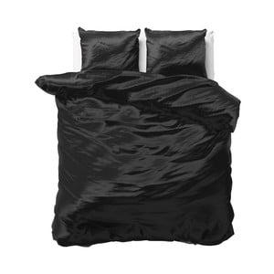 Čierne obliečky zo saténového mikroperkálu na dvojlôžko Sleeptime, 240 x 220 cm