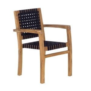 Čierna záhradná stolička z recyklovaného teakového dreva SOB Garden
