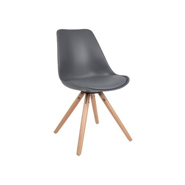 Tmavosivá stolička s bukovou podnožou Tryck