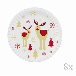Sada 8 papierových vianočných podnosov Neviti Rocking Rudolf, ⌀23cm