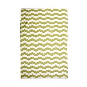 Bavlnený koberec Chevron Ivory/Green, 120x180 cm
