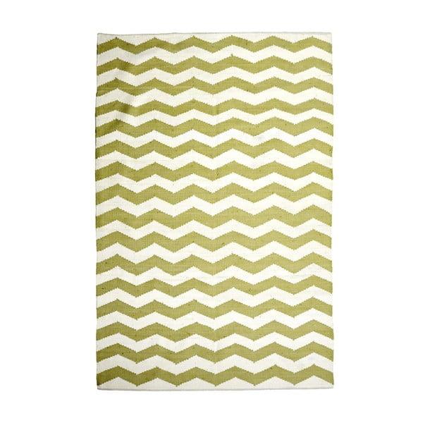 Bavlnený koberec Chevron Ivory/Green, 160x230 cm