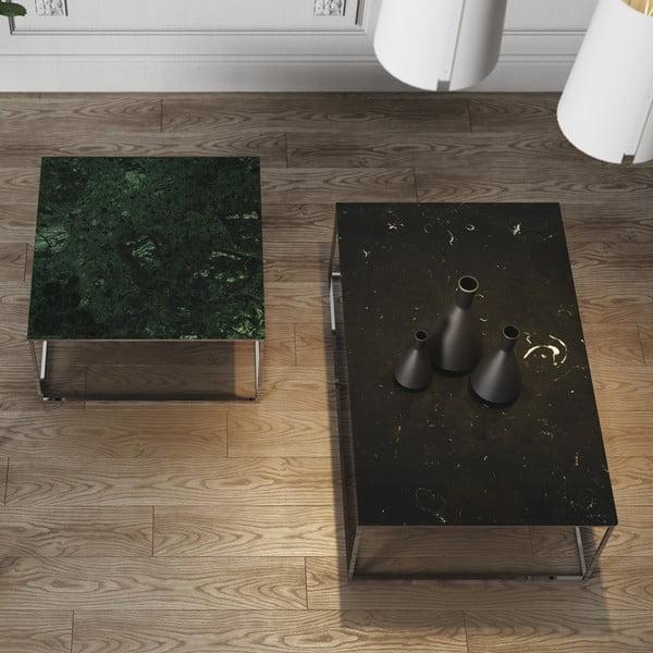 Zelený mramorový konferenčný stolík s chrómovými nohami TemaHome Gleam, 75cm