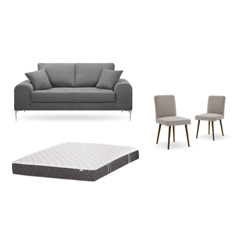 Set dvojmiestnej sivej pohovky, 2 sivobéžových stoličiek a matraca 140 × 200 cm Home Essentials