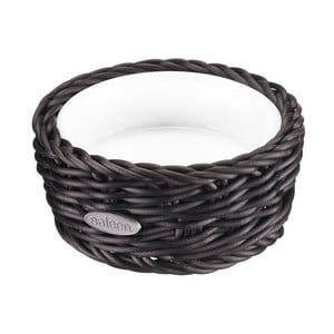 Porcelánová servírovacia miska v čiernom košíku Saleen, 10,5 x 4,5 cm