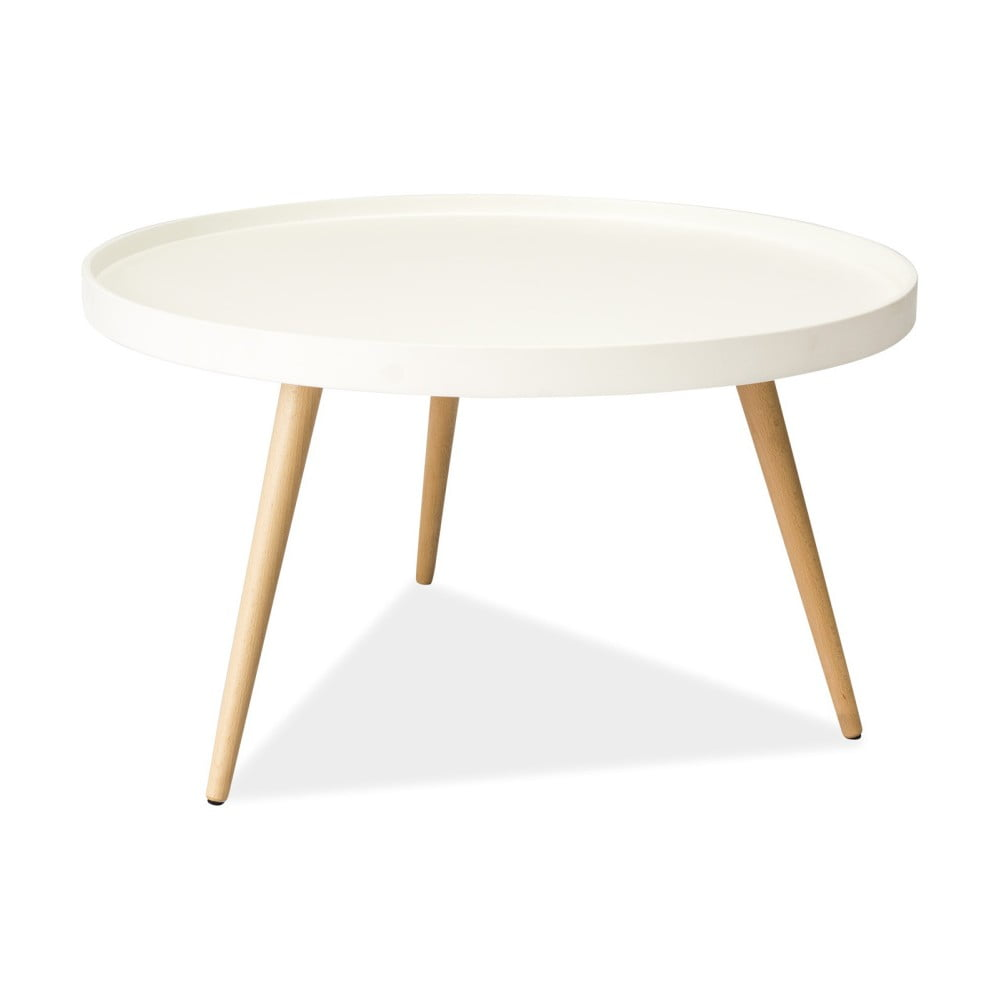 Biely odkladací stolík s nohami z kaučukového dreva Signal Toni, ⌀ 78 cm